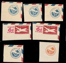 U.S. UNUSED  Mix      7  Cut Squares  as shown      (R8542)