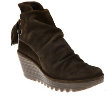 FLY London Suede Wedge Boots - Yama Brown Womens EU37 US 6.5-7 NEW