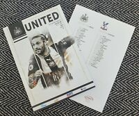 Newcastle United v Crystal Palace Programme 1/1/2020!FREE UK DELIVERY!!