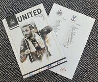 Newcastle United v Crystal Palace Programme 1/1/2020!FREE UK DELIVERY!!