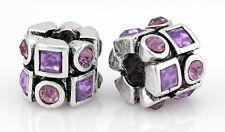 2PCs Purple Rhinestone Silver Spacer Charm Beads Fit European Charm Bracelet