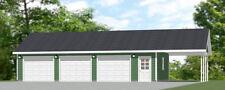 40x24 3-Car Garage w/ Carport -- 960 sq ft -- PDF Floor Plan -- Model 1E