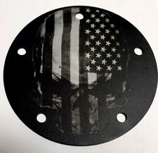 CUSTOM ENGRAVED 5 HOLE TIMING POINT COVER FLAG SKULL HARLEY DAVIDSON BIG TWIN