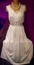 60's Vintage Sheer Plunge Chiffon Peignoir Sweep Long Gown Nylon Nightie 38 L