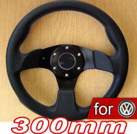 300mm VOLANT Tuning Noir pour VW Golf I 1 II 2 II 3 IV 4 V 5 GTI Polo 6N 6N2 9N