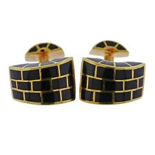 Inlay Gold Cufflinks Angela Cummings Black Jade