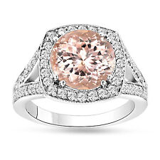 Morganite Engagement Ring 3.00 Carat Halo Pave Unique Handmade Certified