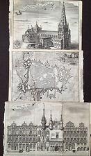 3 x Cambrai 1769 plan maison de ville cathédrale Harrewijn
