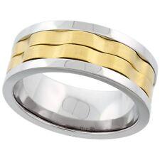 Neues Angebot8.5 MM Edelstahl Spange 2 Reihen Gelb Vergoldet Ehering