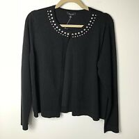 NWT Verve Ami Sweater Womens Single Hook at Top Silver Beads at Nec Size M Black