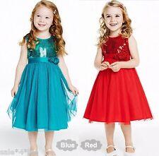 Mädchen Festtagskleid Pailletten Kleid Brautjungfer Prinzessin blau rot 92 - 134