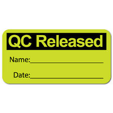 """QC Released"" Quality Control Stickers 1.5"" x 0.75"", Roll of 1,000 Labels"