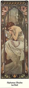 ALPHONSE MUCHA La Nuit 35.5 x 11.75 Poster 1995 Art Nouveau Brown, Neutral