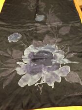 NWT Lauren Ralph Lauren 100%  Light Flowers Silk Black Rectangle  scarf  R616