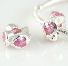 925 Sterling Silver - 'HEART Pink Cz'  -  European Charm Bead