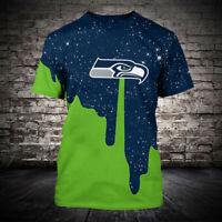 Seattle Seahawks 3D Short Sleeve T-Shirt Casual Tops Tee NFL fan's Gift