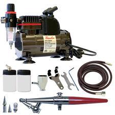 Paasche 1/5 HP Airbrush Compressor w/H Single Action Airbrush Set w/Three Heads