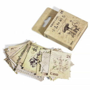 1 Box/46pcs Vintage Stamps DIY Stationery Decorative Notebook Diary Stickers New