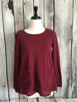 Evy's Tree Boutique Women's Small S Blouse Top Hi Low Trim Pleated Ruffle Lace