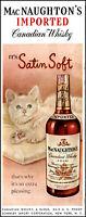 1950 MacNaughton's Whisky blonde cat satin pillow vintage art print ad L23