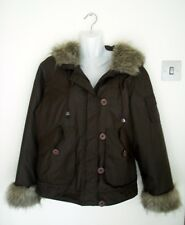 WOMEN'S CHOCOLATE BROWN HOODED FAUX FUR TRIMMED JACKET BY M&S SIZE 14