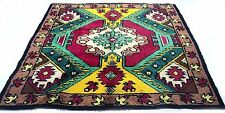 "Antique vintage Turkish handmade hand-knotted thick rug 77"" x 83"" pure wool  #27"