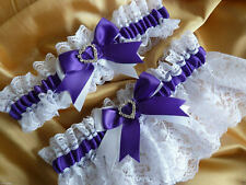 WEDDING GARTER SET PURPLE AND WHITE SATIN LACE BRIDAL SHOWER GIFT BRIDE hearts