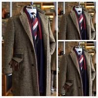 Men's Trench Brown Herringbone Formal Business Jacket Outwear Overcoat Winter