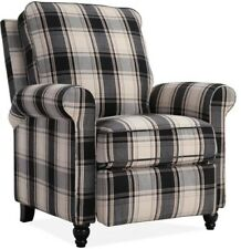 Black Plaid Pushback Recliner Arm Chair Recliners Armchair Country Style Chairs