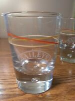 "BAILEYS IRISH CREAM Swirl Lined. Trapped Bubble Base 4.25""Whiskey glasses. Heavy"