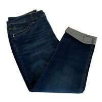 Chicos Womens So Slimming Cropped Jeans Blue Dark Wash Pockets Denim Med/8