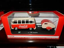 1962 VW VOLKSWAGEN SAMBA BUS COCA COLA WITH TEAR DROP TRAILER 1/43