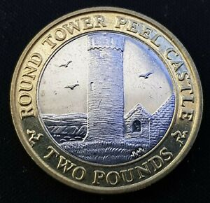 SCARCE IOM Manx £2 Round Tower of Peel Castle 2007 Circ EF