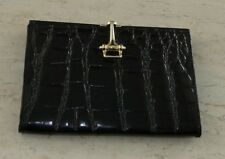 Brand New CROCODILE WALLET ~ Budd Leather ~Made in Spain BLACK~ MUST SEE~~~