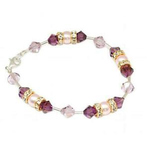 SPARK Pearl & Purple 925 Silver Bracelet with elements made with Swarovski Cryst