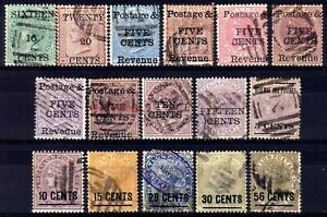 -CEYLON 1882-5 SURCHARGES USED SELECTION, 16 STAMPS