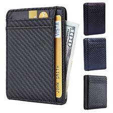 Bloqueo De RFID para Hombre Cartera De Cuero Clip de moneda titular Bolsillo Dinero tarjeta de crédito
