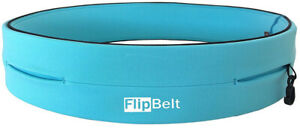 FlipBelt Classic Running Belt Aqua Multi Pocket Secure Storage Sports Waist Bag