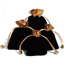 10PCS Black Jewelry Pouches Velour Velvet Drawstring Gift Bags 7x9cm
