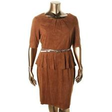 INC 4682 Womens Brown Faux Suede Peplum Wear to Work Dress Plus 3X BHFO