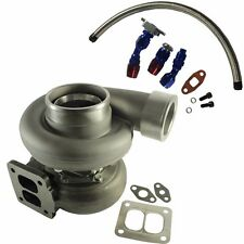"GT45 600+HP T4/T66 3.5""V-BAND 1.05 A/R 92 TRIM TURBO CHARGER+OIL FEED+DRAIN LINE"