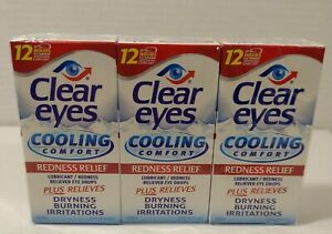 Clear Eyes Cooling Comfort Redness Relief Eye Drops 15 mL (3 Pack) Exp 07/2022