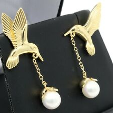 Hand Carved Bird Akoya White Pearl Earrings Women Jewelry 14K Yellow Gold Plated