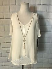 NWT BCX Cold Shoulder Top Sz M Attached Necklace White Short Sleeve Flowy Layer