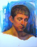 Original Oil Portrait Young Handsome German Man Contemporary Realism Modern US