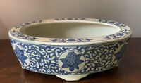 Oval Blue & White Floral Ceramic Footed Bonsai Ikebana Planter Pot ~ chinoiserie