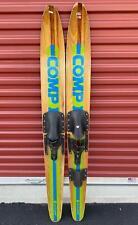 "Vintage 1970s Cut 'n Jump Wood 'Comp 1' Water Skis Combo Pair Combi 60"" Length"