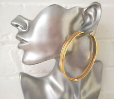 Stunning gold tone 8cm patterned wide - flat tube big round hoop earrings   #J1