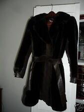 Vintage designer Women's Fashion Designer Fur Coat with Leather trim