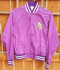 Vtg Minnesota Vikings Satin Jacket-Purple-Made in USA-L-NFL Football-Chest Patch